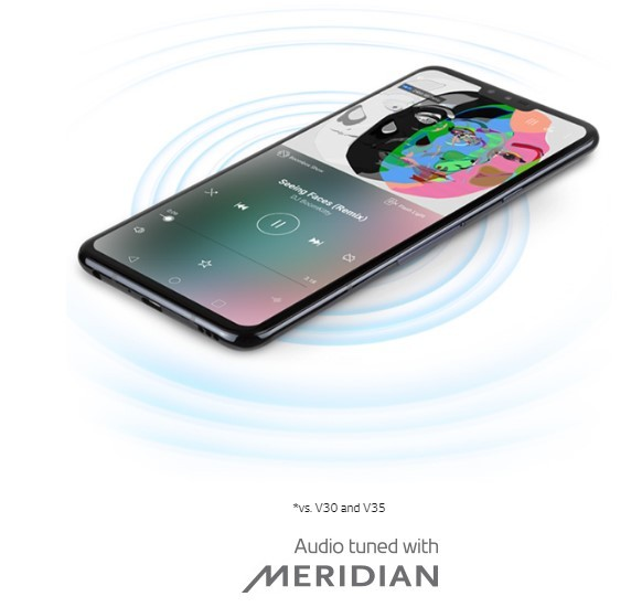 An image to visualize the Boombox Speaker feature of LG V40 ThinQ, the sound ripples come out from the phone.