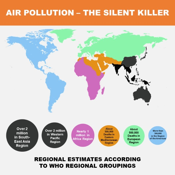 An infographic explaining geographical estimations from the World Health Organization regarding levels of air pollution