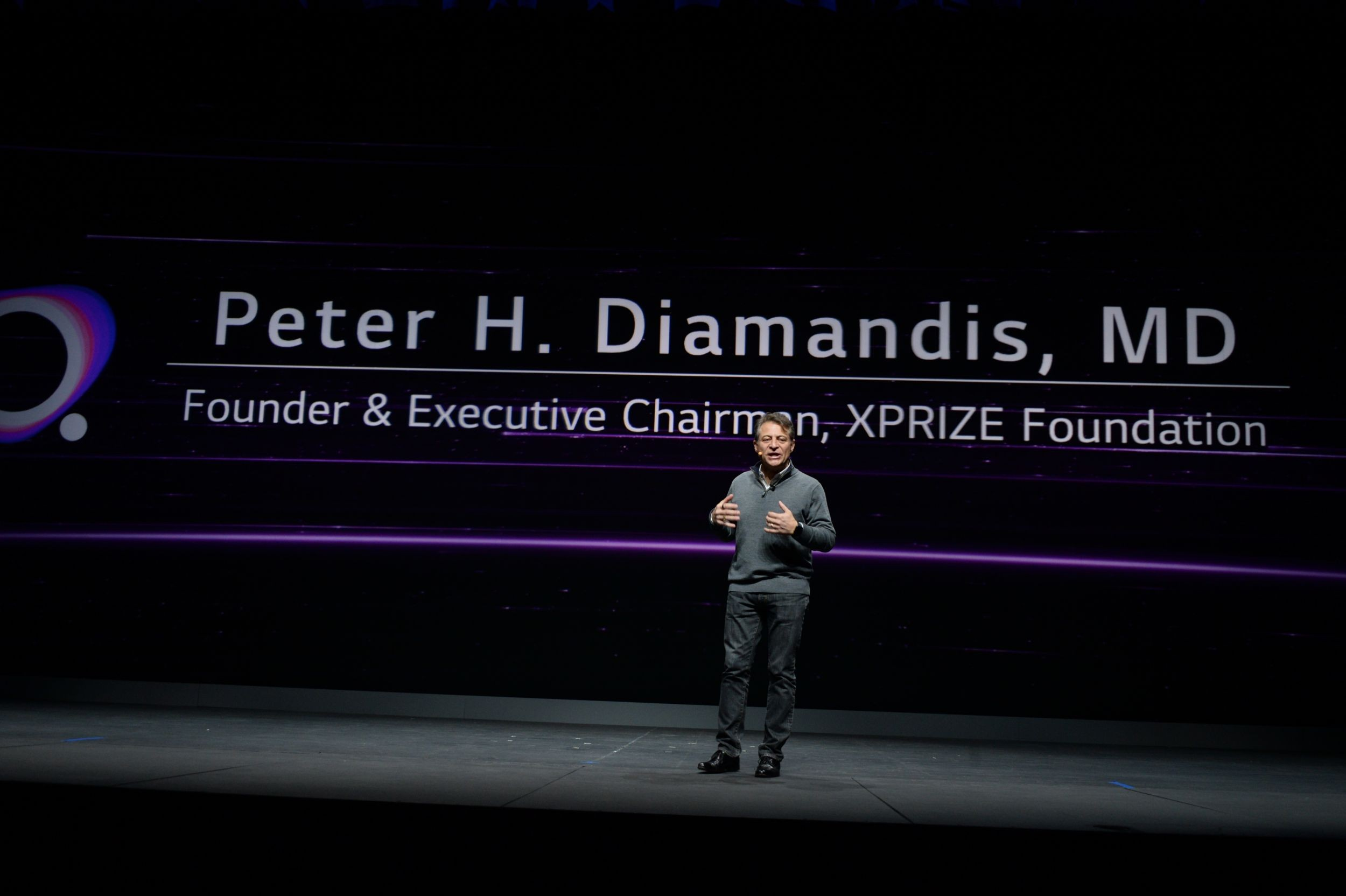 Dr. Peter Diamandis, founder of the XPRIZE Foundation, delivers the keynote address.