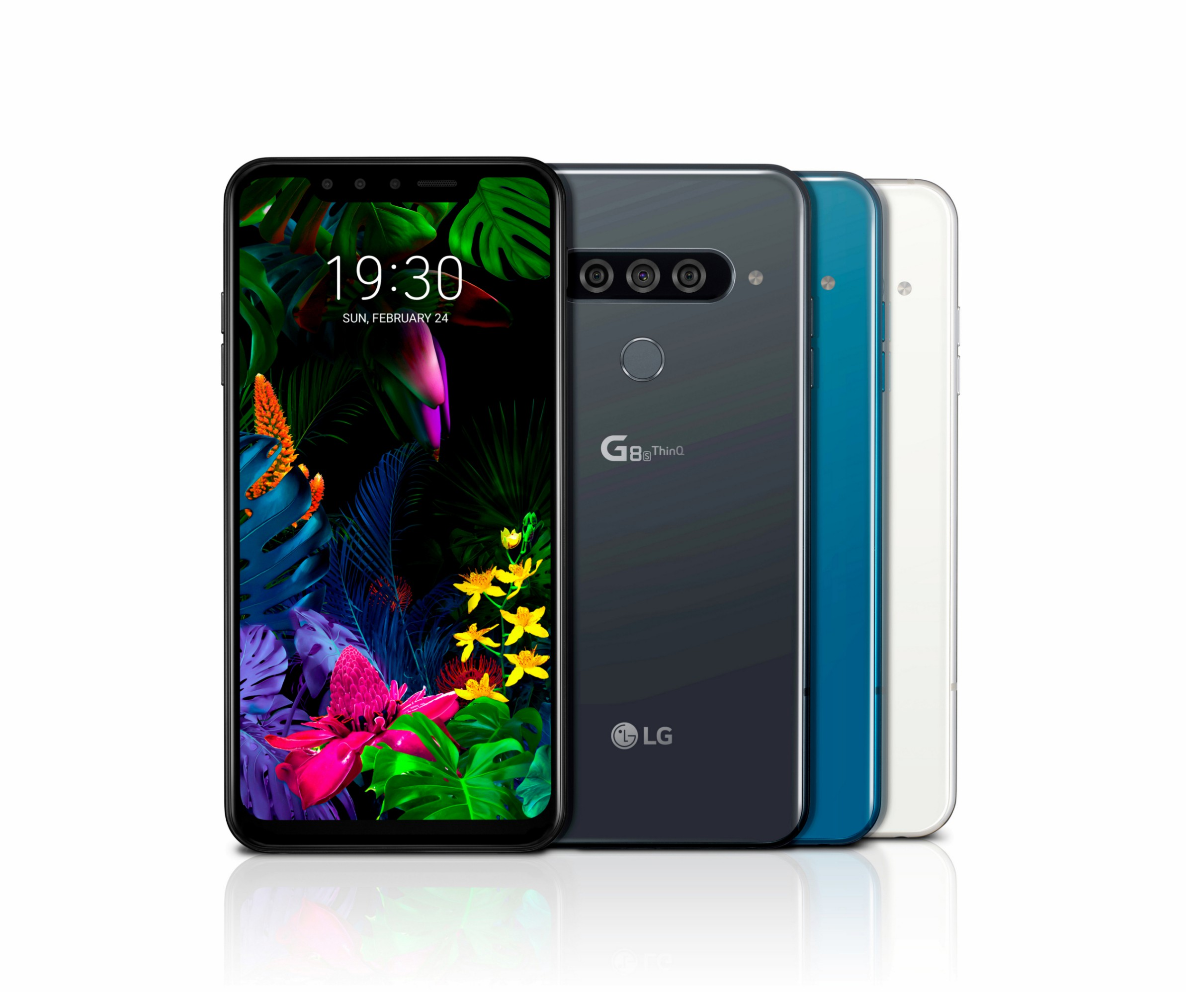 The front and rear view of the LG G8S ThinQ in Mirror Black, Mirror Teal and Mirror White
