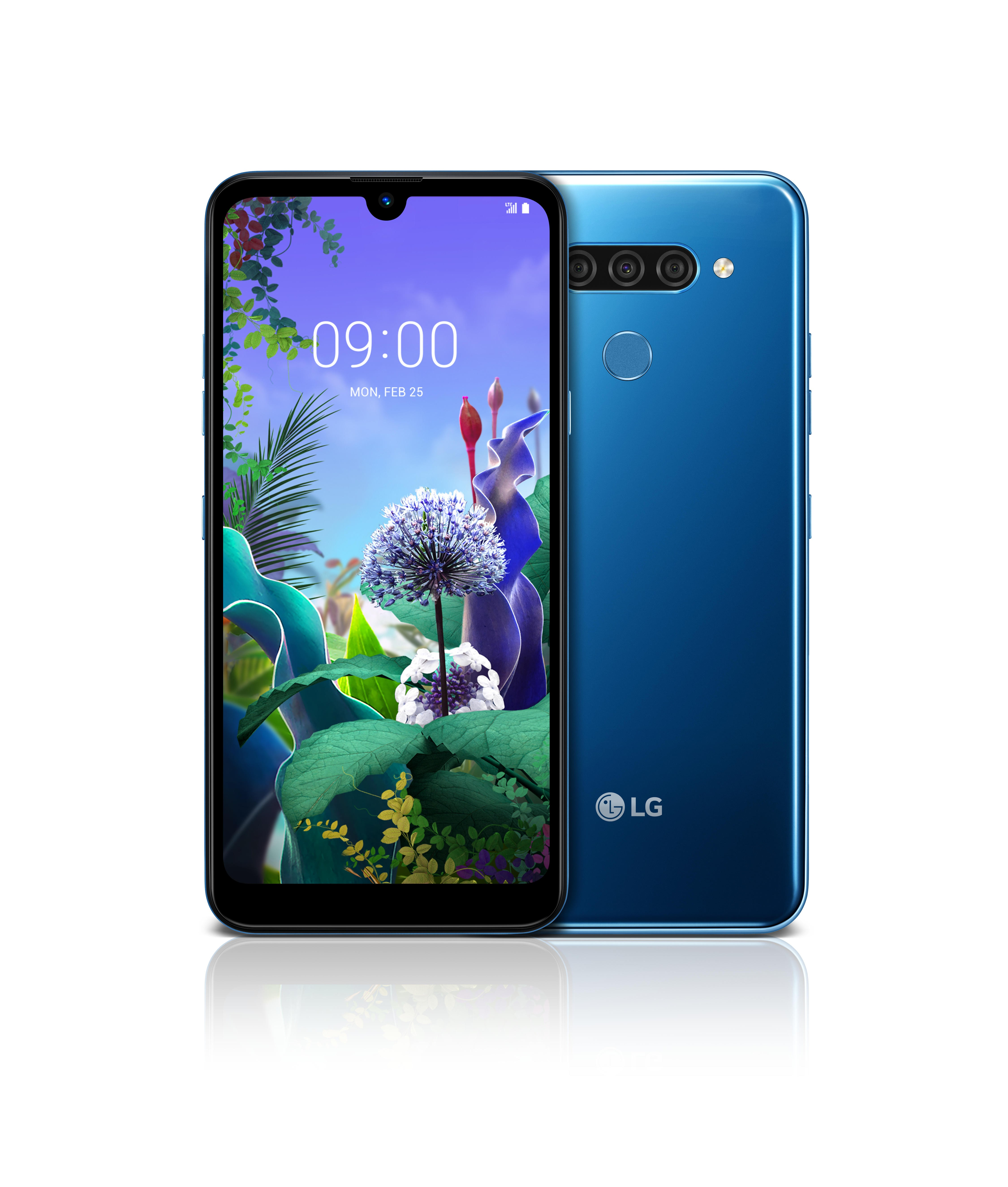 The front and rear view of the LG Q60 in New Moroccan Blue