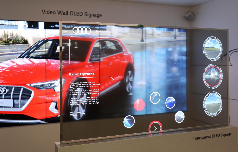LG's transparent OLED signage presented at ISE 2019.