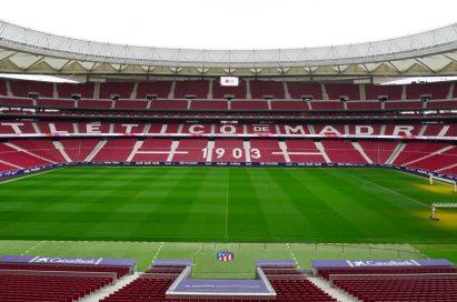The inside view of the Wanda Metropolitano Stadium, the home ground of Atlético Madrid football club