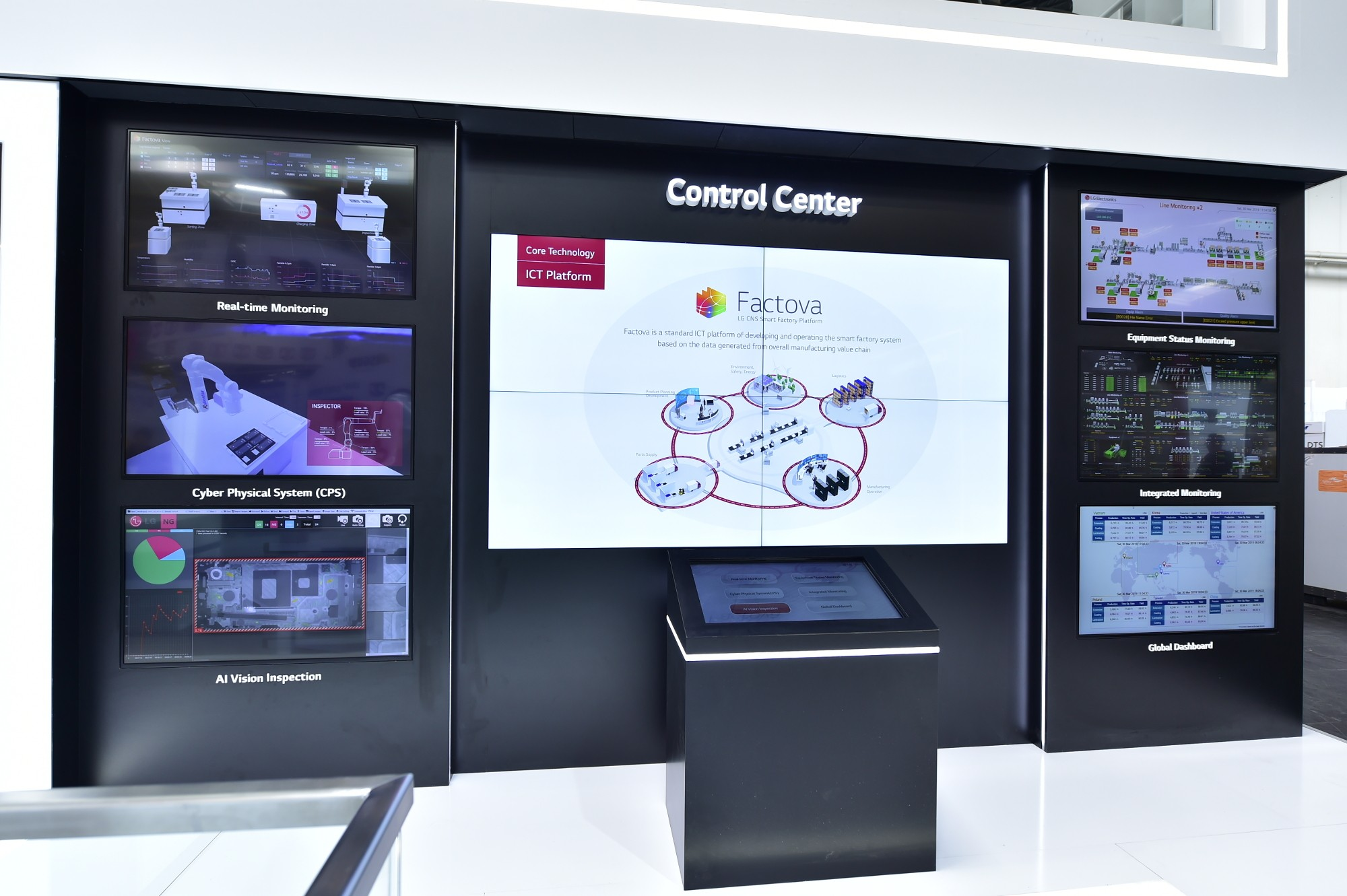 A picture of the booth showcasing LG's leading manufacturing technologies at Hannover Messe 2019.