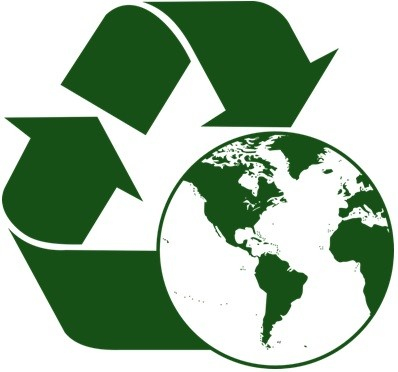 A combined concept image of the recycle icon and an illustration of the globe