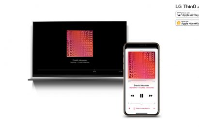 LG ThinQ AI TV streaming music content from an iPhone through AirPlay2