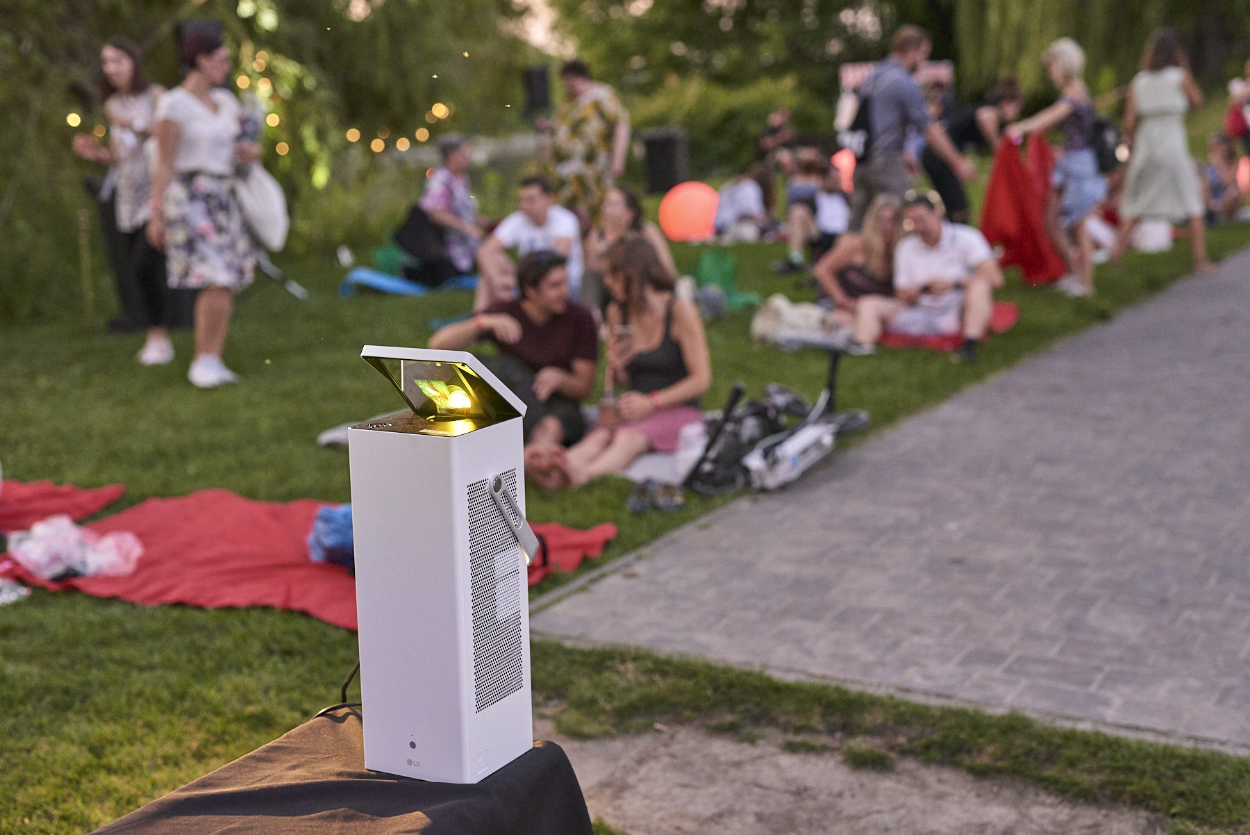 LG's CineBeam 4K projector at the LG Sunset Cinema event