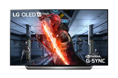 A front view of LG OLED TV with NVIDIA G-SYNC
