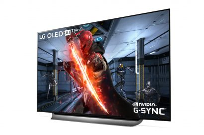 A right-side view of LG OLED TV with NVIDIA G-SYNC