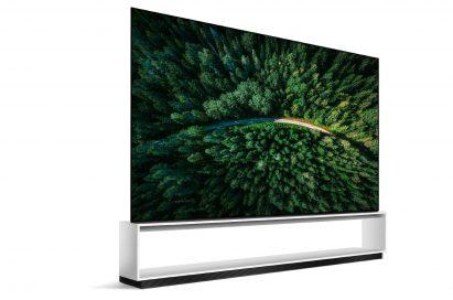 A left-side view of LG SIGNATURE OLED 8K TV model 88Z9