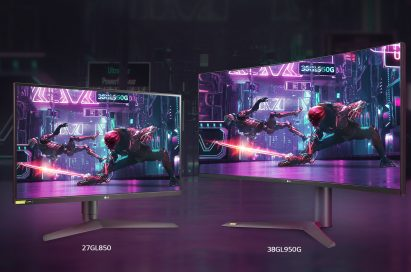 Side-by-side LG UltraGear Monitor models 27GL850 and 38GL950G, both producing rich colors in the dark