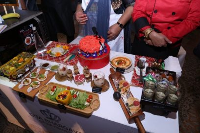 A top view of the table with a host of dishes which show off participants' culinary skills