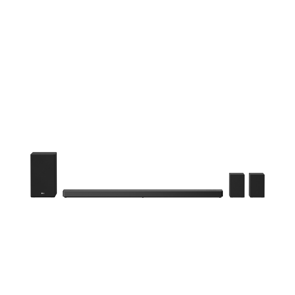 Front view of LG SoundBar model SN11RG in between the SPK8 Wireless Rear Speaker Kit