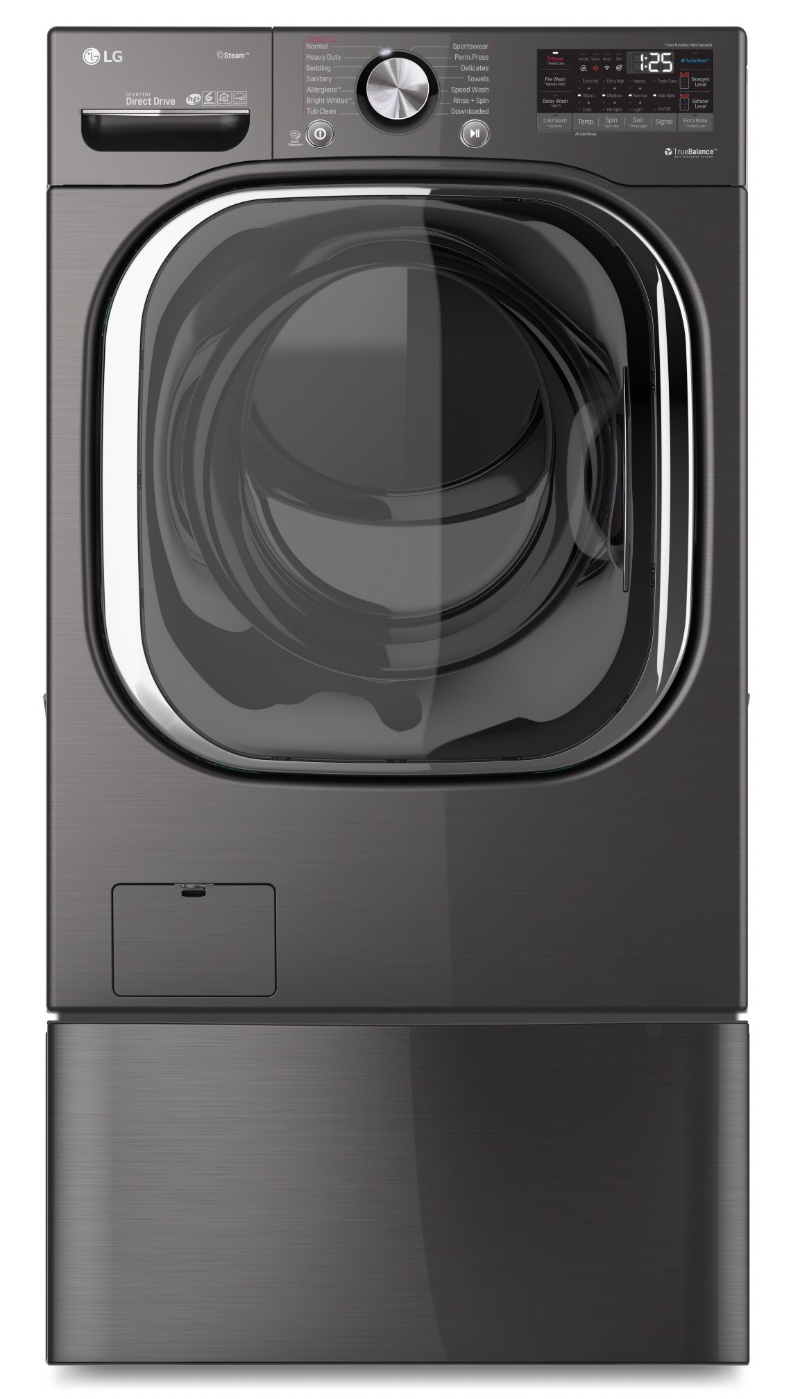 Front view of AI DD™-equipped LG ThinQ™ front-load washing machine next to LG dryer in a laundry room. The Sidekick washer below the front loader is opened, and the pedestal unit below the dryer is closed.
