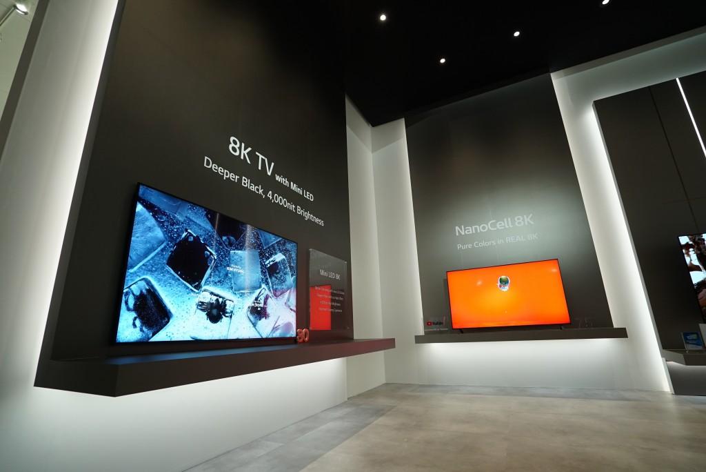A view of the corner of LG's 8K TV zone at CES 2020, with the company's Mini LED and 8K NanoCell TVs on display