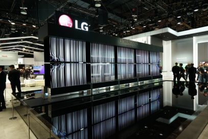Ten LG SIGNATURE OLED R TVs, five of them hanging upside down, create an awe-inspiring display all in their full-view modes at the company's CES 2020 booth