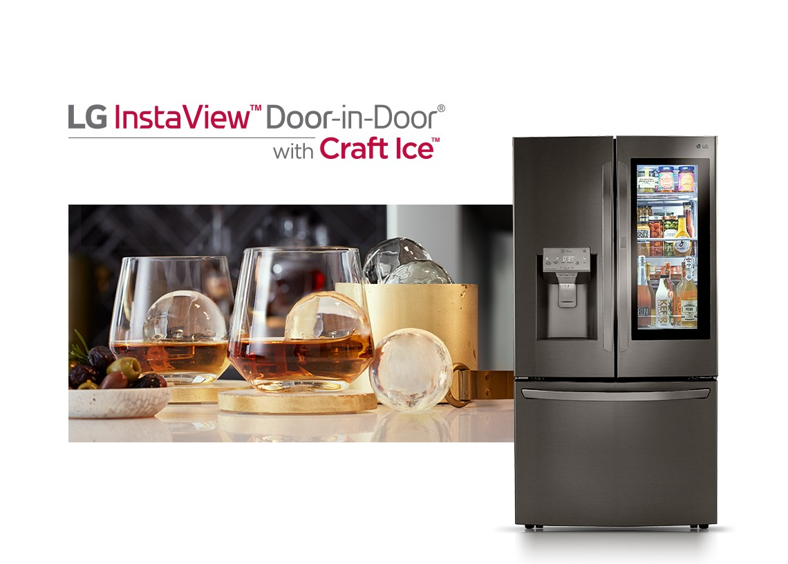 Front view of LG InstaView™ Door-in-Door® showing its inside through the InstaView becoming transparent with a close-up view of multiple glasses of whiskey on the rock made using Craft Ice™ placed on a table