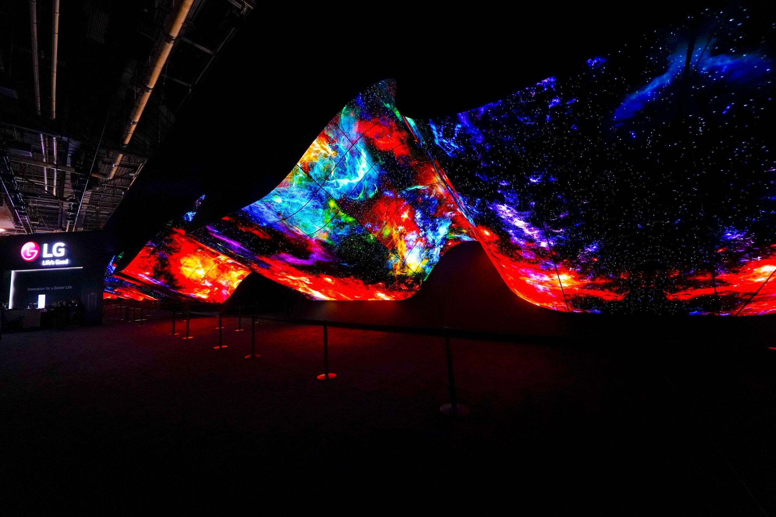 A wide-angle view of CES 2020's LG OLED Wave perfectly displaying the vastness and mystery of deep space via its sharp and colorful images