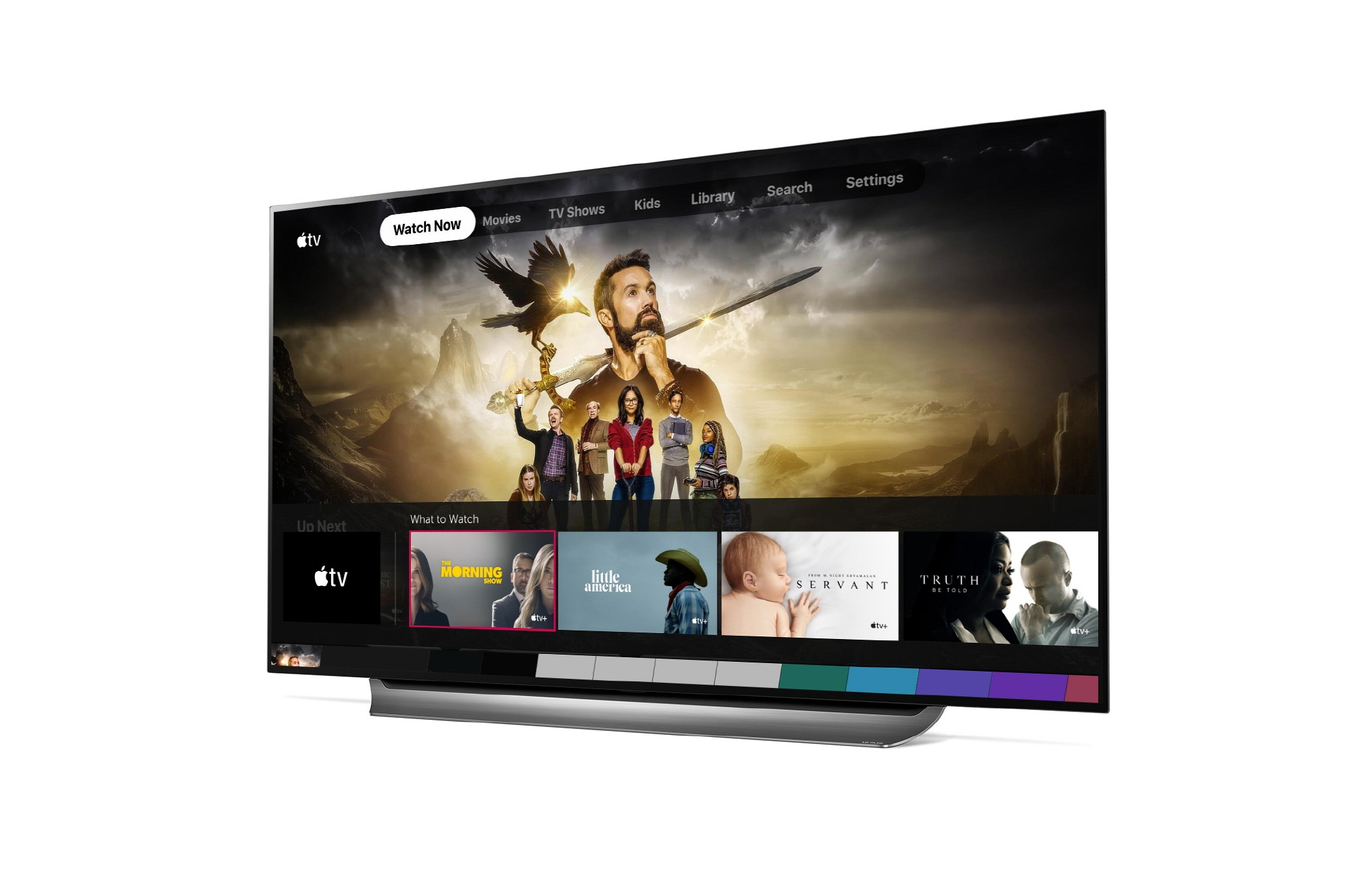 Right side view of an LG TV using the Apple TV app's user interface to navigate TV shows and films
