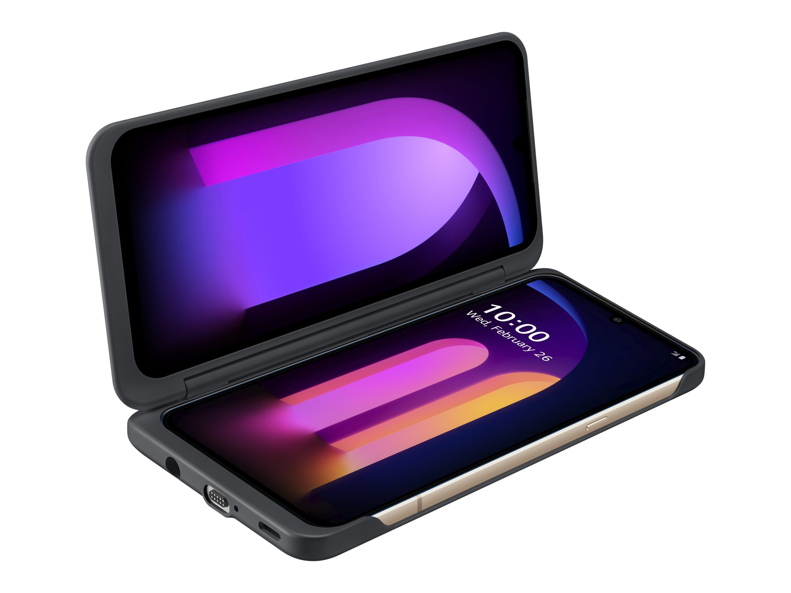 The front view of the LG V60 ThinQ 5G attached to the LG Dual Screen in Black folded at a 90° angle