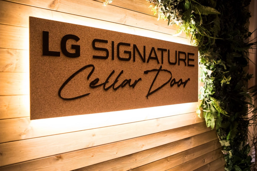 The LG SIGNATURE Wine Cellar Door event's main sign
