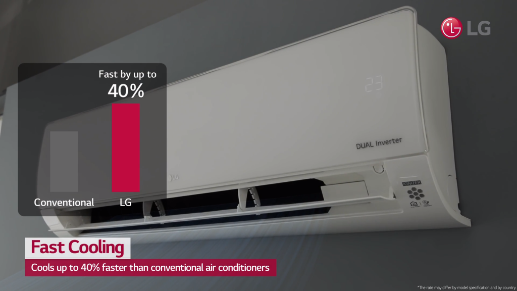 Front view of the LG DUAL COOL with a bar graph illustrating its 40% faster cooling compared to conventional air conditioners