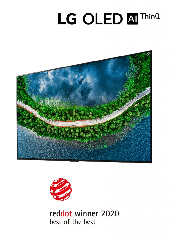 Right-side view of LG OLED TV GX with the LG OLED AI ThinQ logo above and the 'Red Dot winner 2020 Best of the Best' logo below