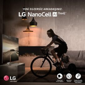 A woman participates in the LG Indoor Cycle Challenge by riding her bike in front of her living room LG NanoCell TV