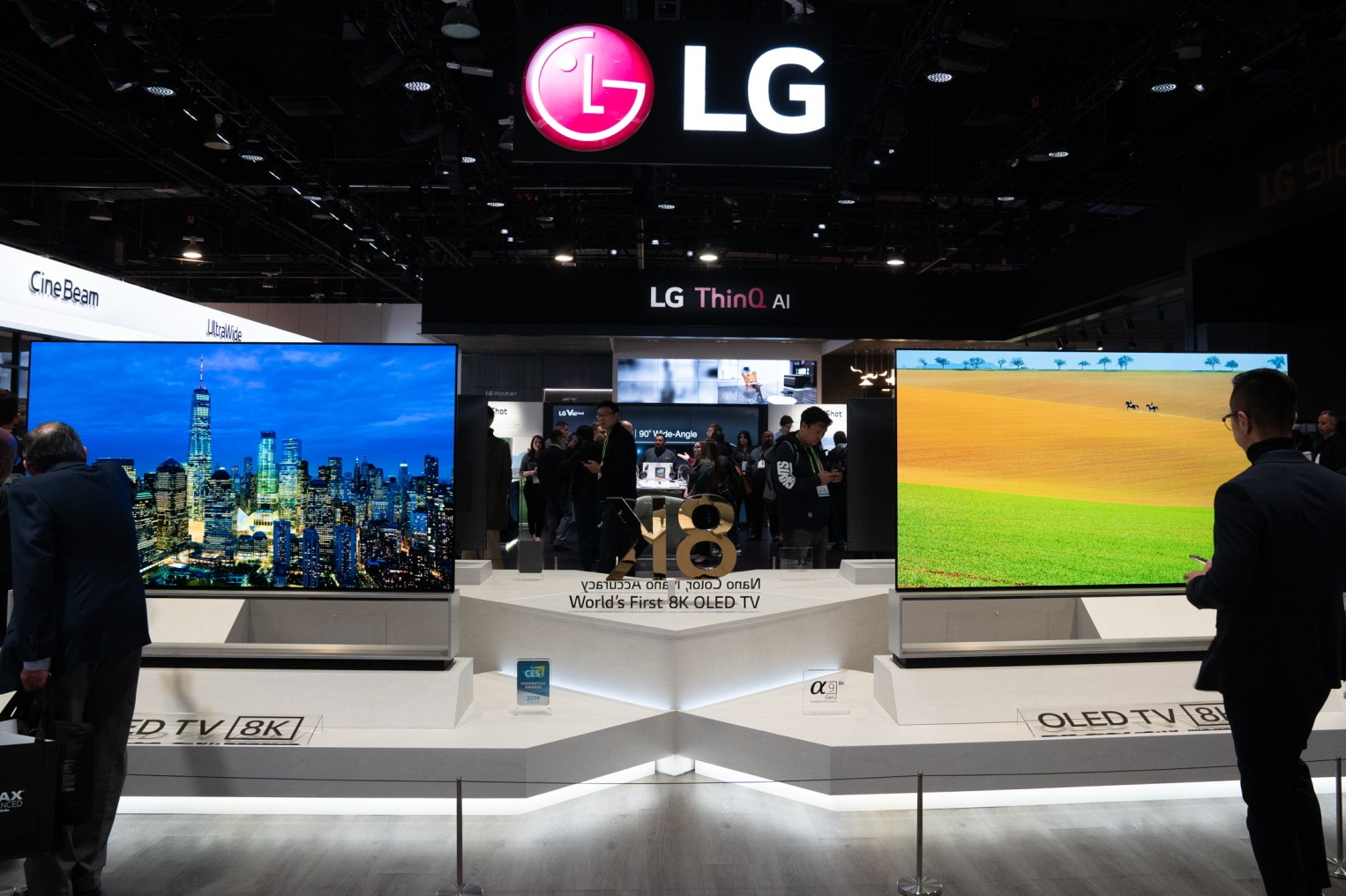 Front view of the LG 8K OLED TV display zone with two 8K models at the company's booth during CES 2019