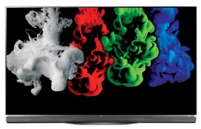 An image of one of LG's TVs, model OLED55E6K, displaying colorful imagery to commemorate the new partnership between LG and Bang & Olufsen