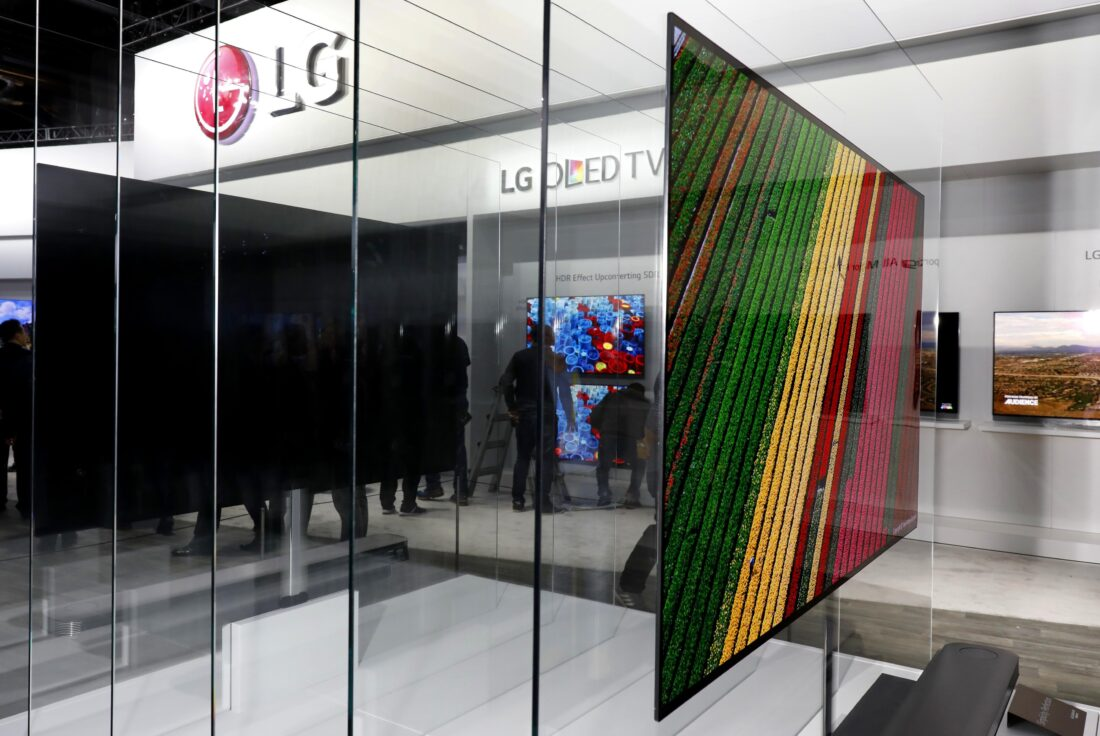 Side view of the LG SIGNATURE OLED TV W at CES 2017