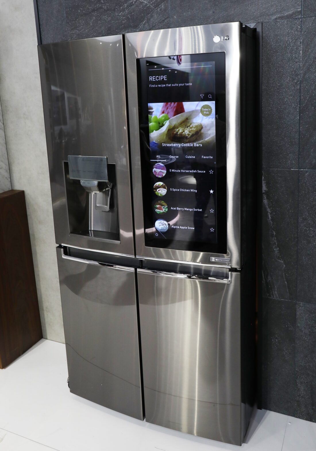 An LG InstaView Door-in-Door refrigerator in the LG display zone at CES 2017