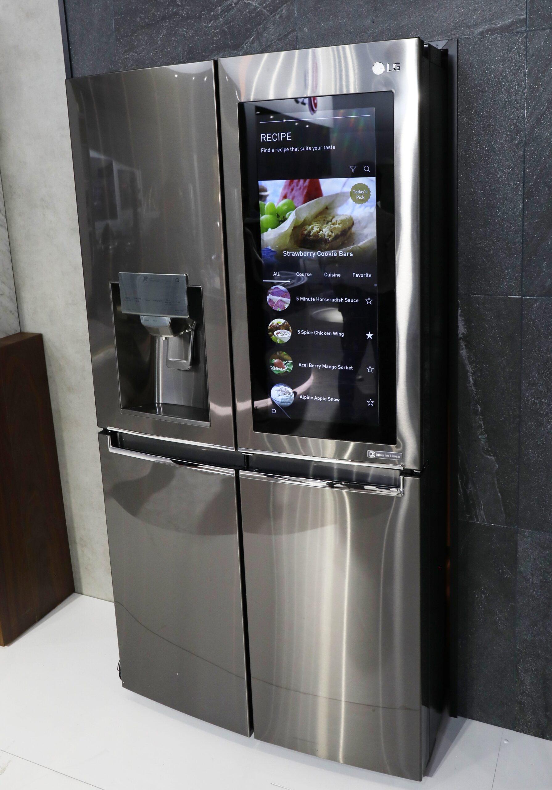 An LG InstaView Door-in-Door refrigerator in the LG display zone at CES 2017