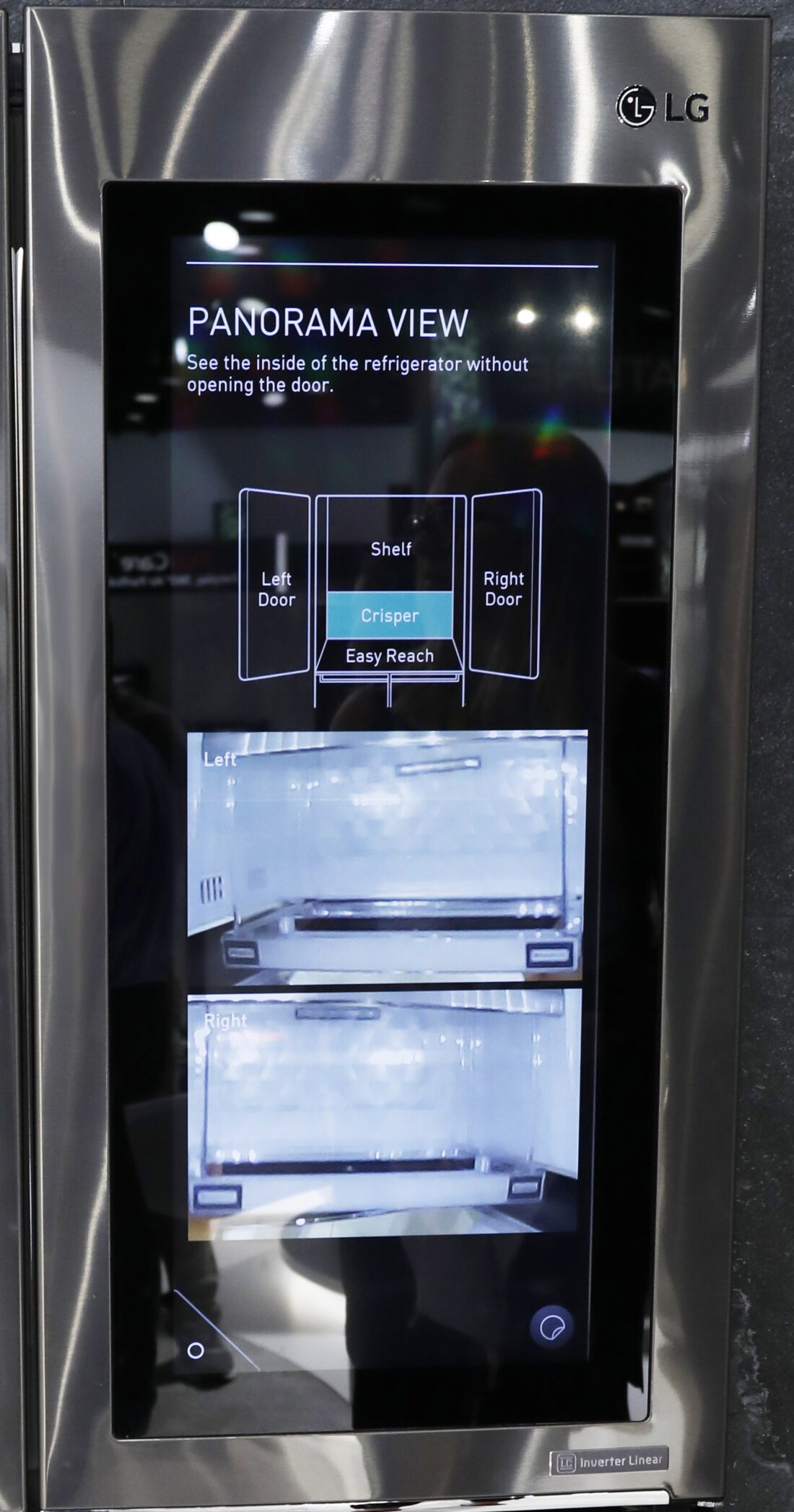 LG's InstaView Door-in-Door refrigerator featuring the Panorama View display screen in the LG display zone at CES 2017