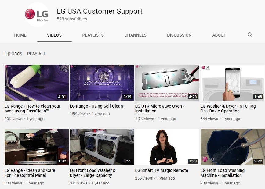 The front page of LG USA Customer Support's YouTube channel