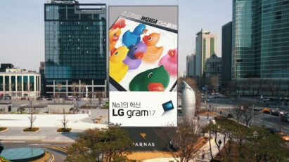 LG's customized high-definition LED digital signage display in Seoul's busy Gangnam district