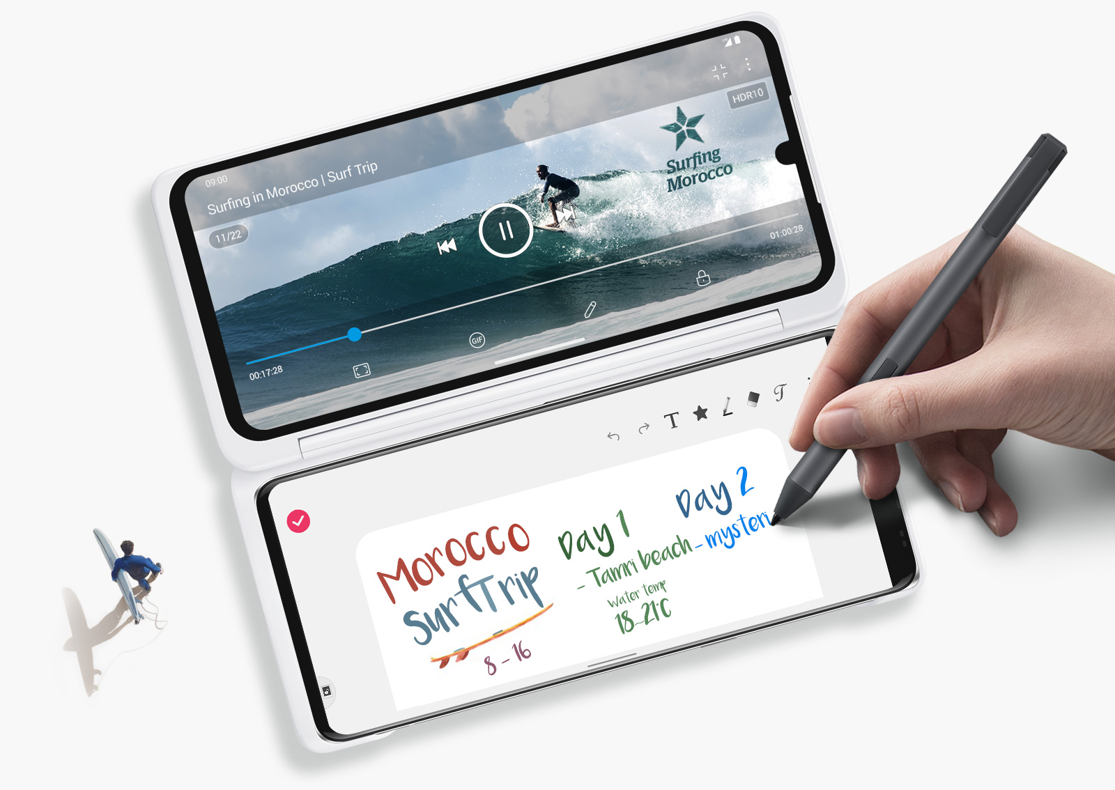 Lifestyle image of a user watching a video on the LG Dual Screen while taking notes on the LG VELVET with a compatible active stylus pen