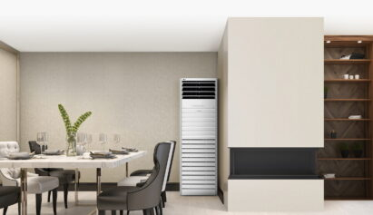 LG's commercial air purifier in the corner of a restaurant