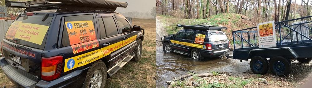 A 'Fencing for Fires' vehicle crossing a river as it continues to protect and help recover the local nature destroyed by bushfires