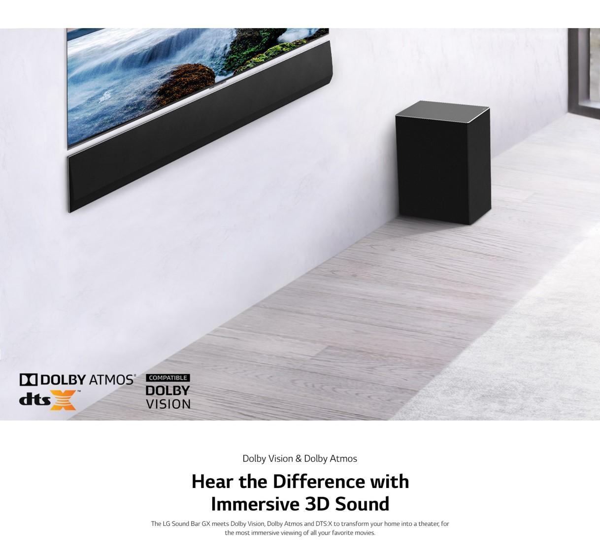 LG's GX Soundbar is placed under LG GX Gallery OLED series TV in a modern living room
