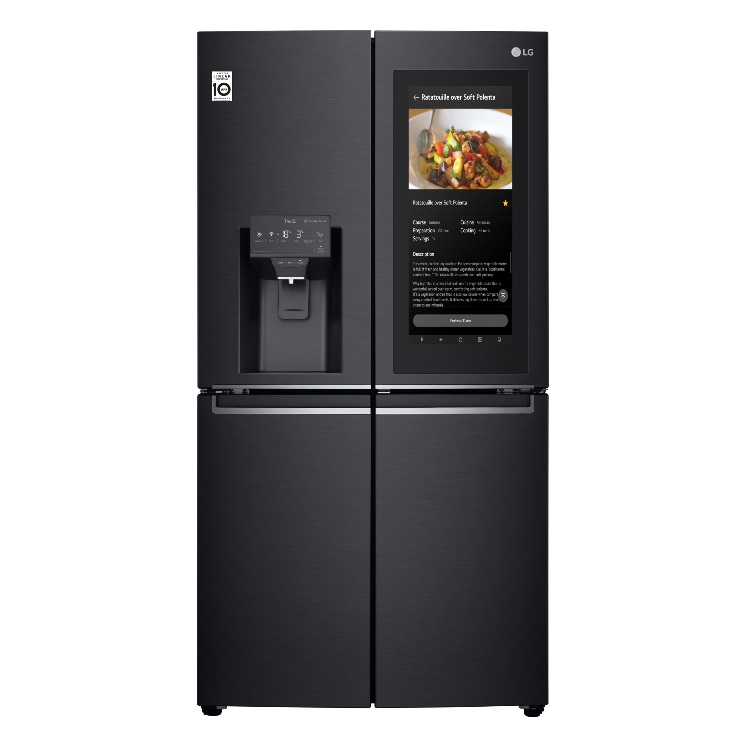 Front view of the latest InstaView ThinQ refrigerator with the InstaView showing a recipe
