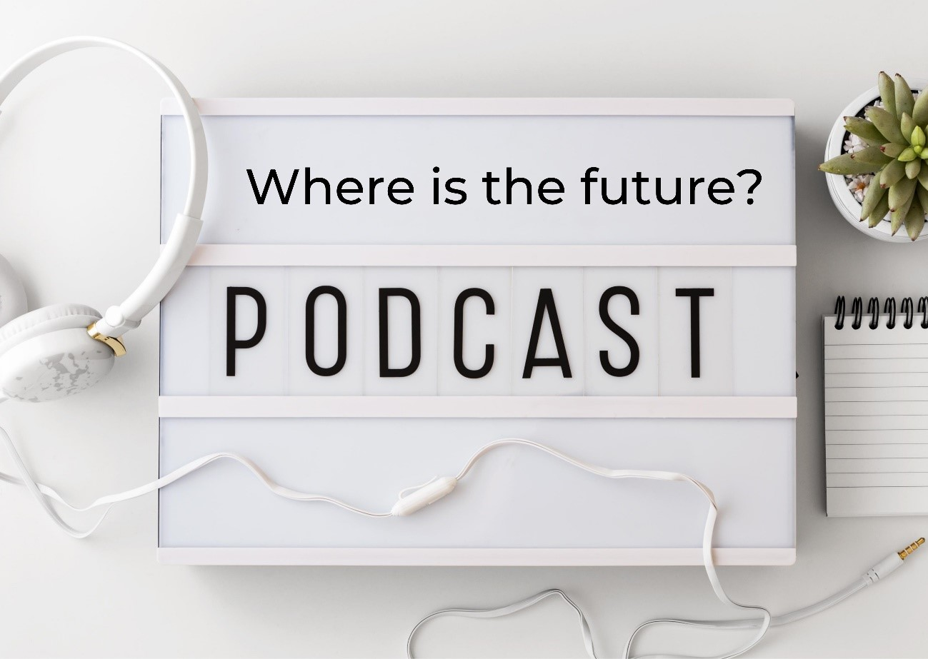 """Promotional image of LG's """"¿Dónde queda el futuro?"""" podcast with its English translation, 'Where is the future?', displayed in between a notepad and some headphones"""