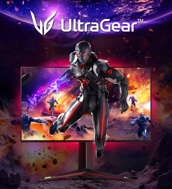 An LG UltraGear promotional image displaying an outer-space scene with a game character bursting out from the monitor's screen