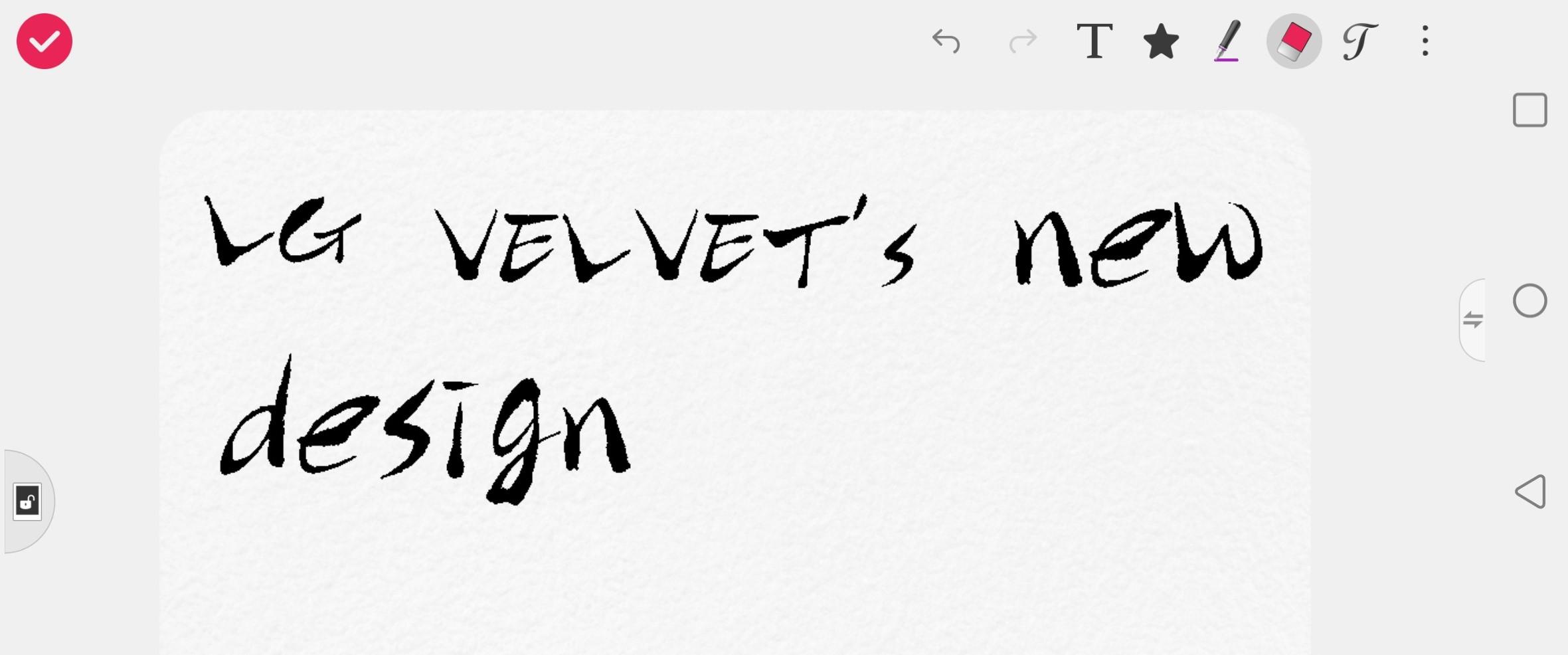 A screenshot from LG VELVET's pre-installed QMemo+ app, with the phrase 'LG VELVET's new design' written down with the active pen