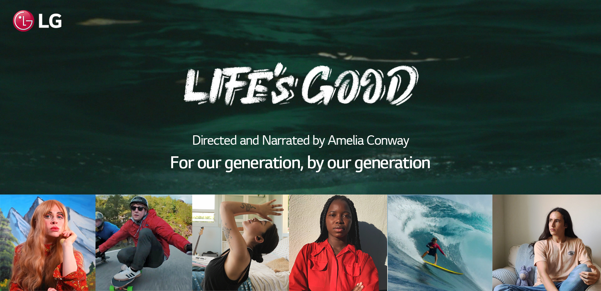 A poster of the Life's Good campaign video with pictures of featured top influencers and the film's slogan, For our generation, by our generation