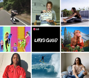 Nine screenshots taken from the Life's Good promotional short film, with young influencers doing what makes their live's so good like longboarding, directing, and surfing
