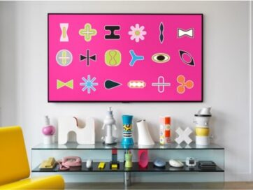 Karim Rashid's 18 ICONS including curvaceous shapes, undulating lines and bright colors shown on the LG GALLERY DESIGN TV