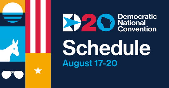 Poster for the 2020 Democratic National Convention with its schedule and political symbols displayed