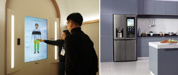 The left image shows an LG representative explaining how to use ThinQ Fit to shop for clothes, whereas the second image displays LG's smart refrigerator in a modern kitchen setting with its front display turned on