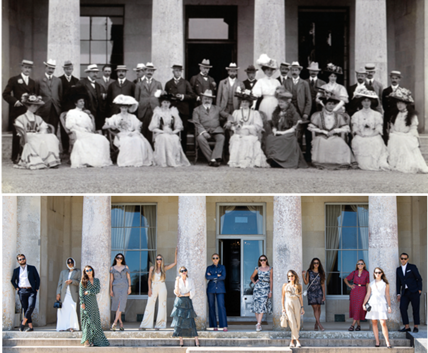 Stylish models try to recreate an iconic photo from the 1800s on the front steps of Goodwood House